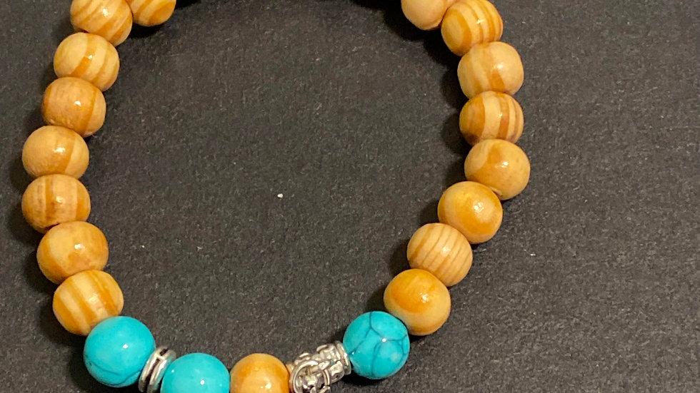 Wood bead and turquoise hamsa bracelet