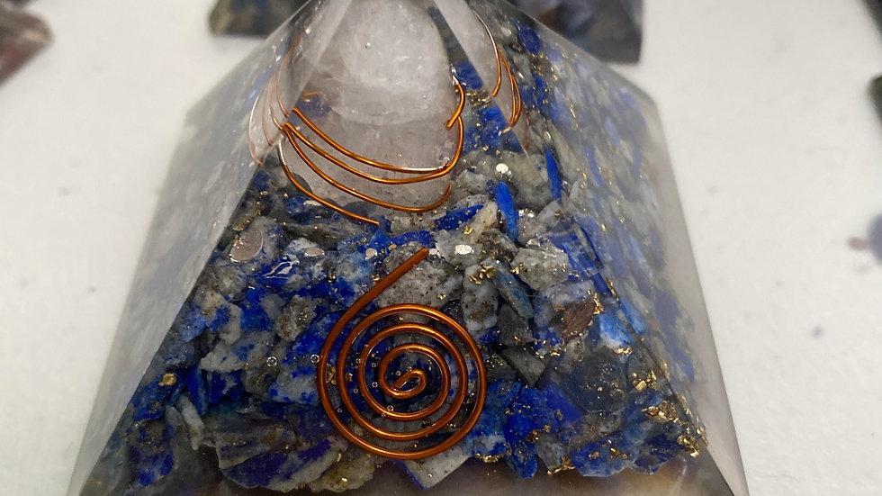 Handmade w/ genuine Lapis Lazuli gems Orgone Pyramid