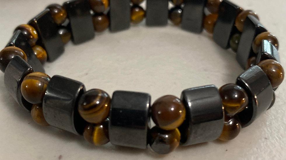 Tiger eye and hematite magnetic protection bracelet