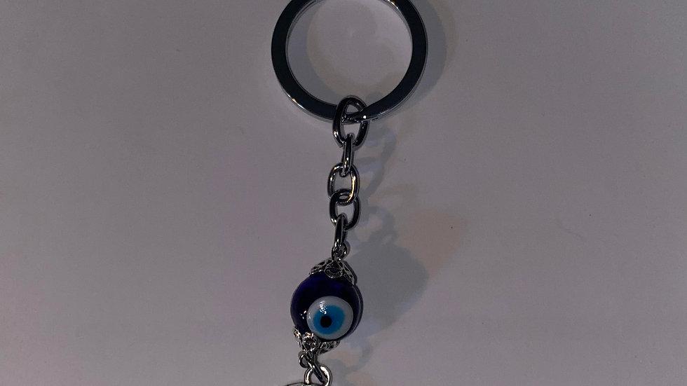 Hamsa and glass bead evil eye keychain