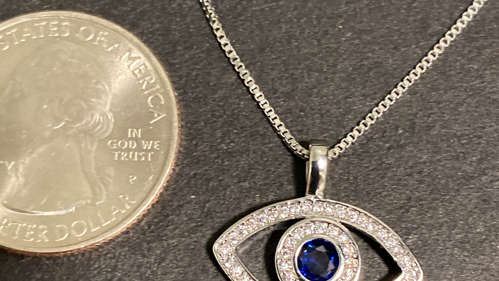 New! 925 Sterling Silver Evil Eye Necklace w/ cubic zirconia