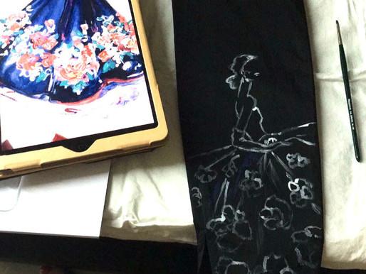 Art on cloths: revamp your 'little-plain-black garment' in a few easy steps.