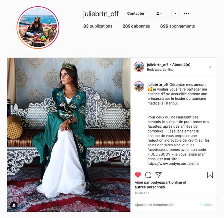 Julie Bertin avec BodyExpert sur Instagram