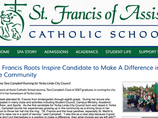 St. Francis Roots Inspire Candidate to Make a Difference in the Community