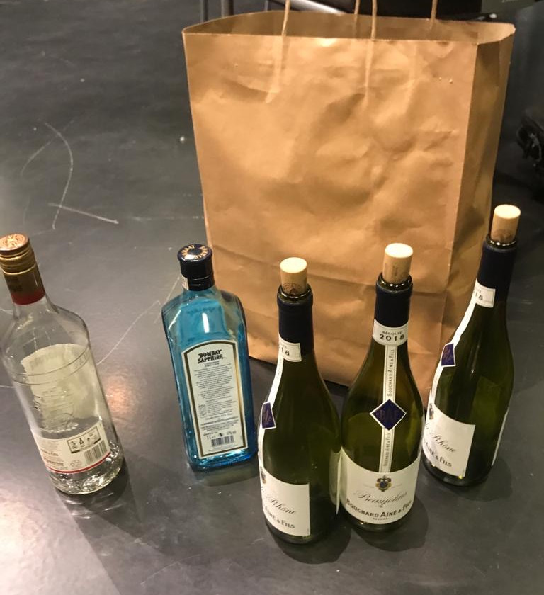 Because students are stuck at home, we still had to make sure that they had access to props. This is the shipment of bottles to the two Servant characters ( Ameera & Mariam ) and Yasha. See if you can spot any of these bottles in the play.