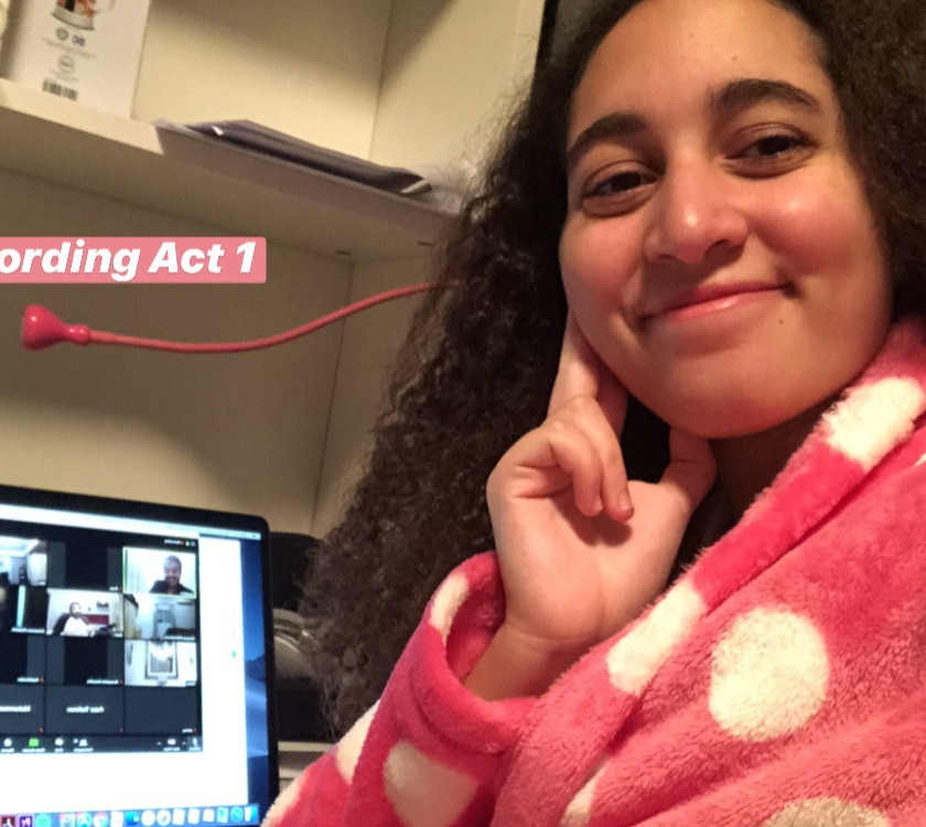 Aesha got another picture behind the scenes as they continued filming and she was getting ready for her entrance at the end of Act 1