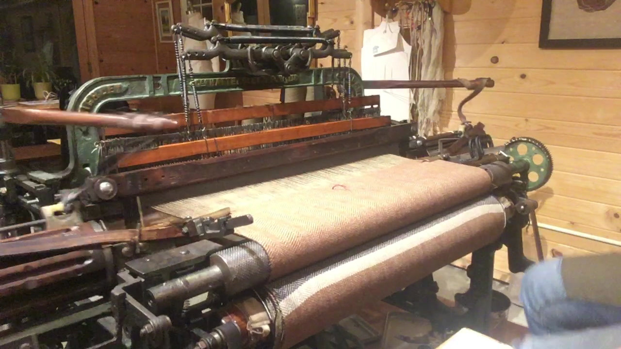 Your shawl being woven on the Hattersley loom!