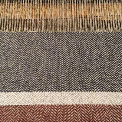 The first 12 inches. I love how each color highlights the woven pattern in a different way.