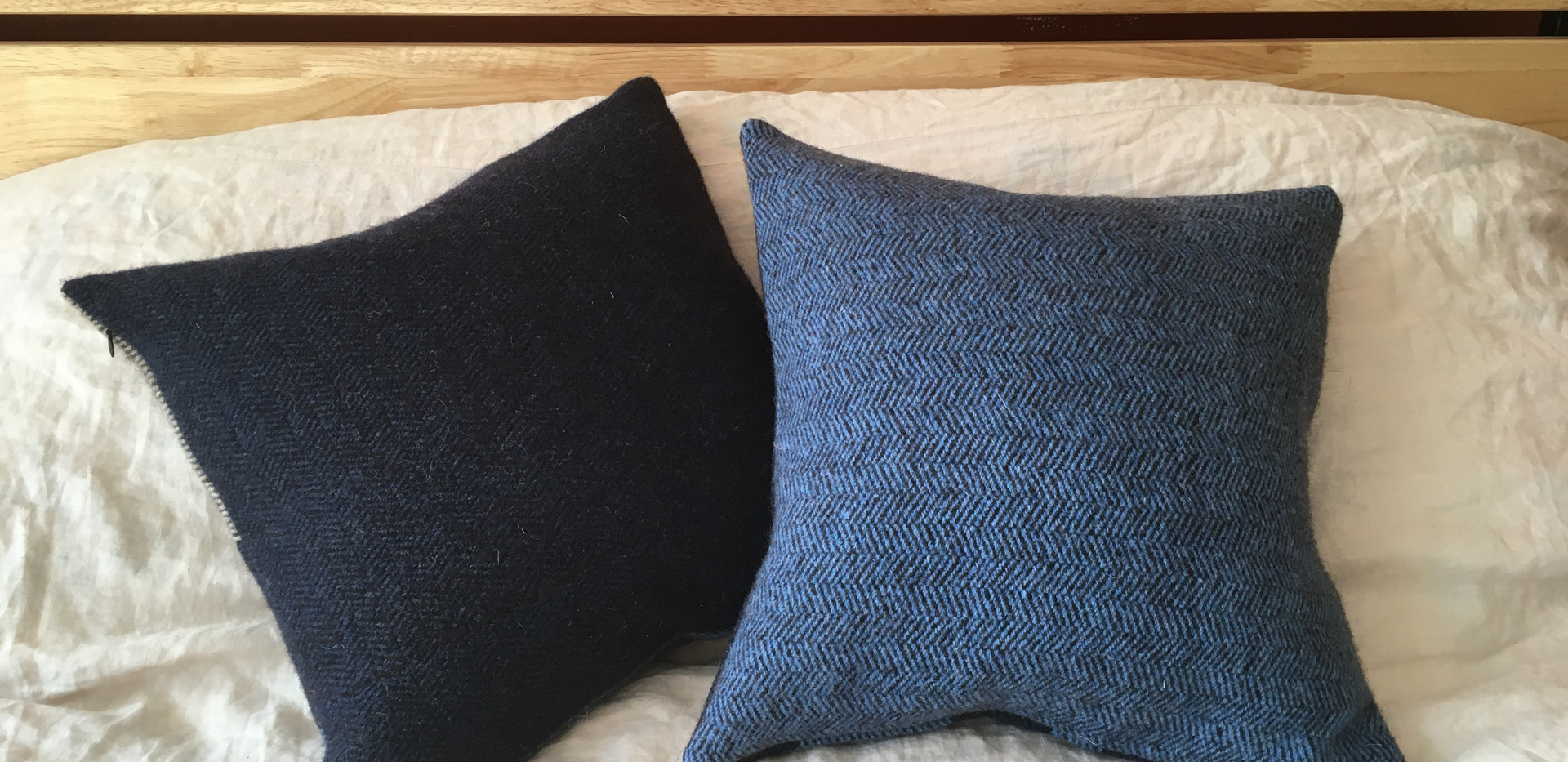 Navy pillow sample (left)
