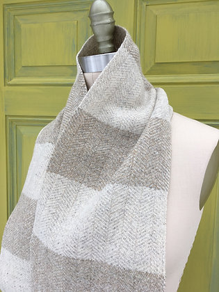 Hattersley Scarf: Cream and Desert Sand Striped