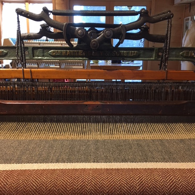 The first 12 inches of the shawl woven on the Hattersley loom!