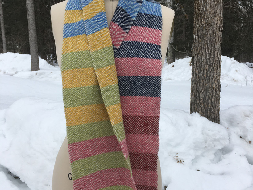 Striped, White Sheep's Wool Warp, Pink, Red Maple, Navy, Corn Flower, Yellow, Hopper Lopper