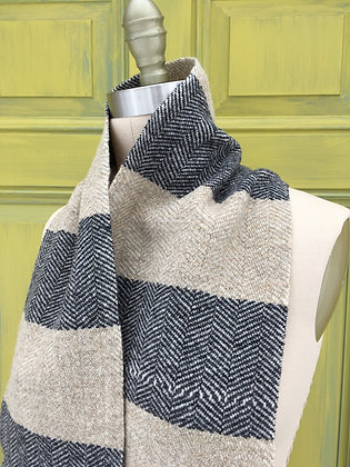 Hattersley Scarf: Slate and Desert Sand Striped