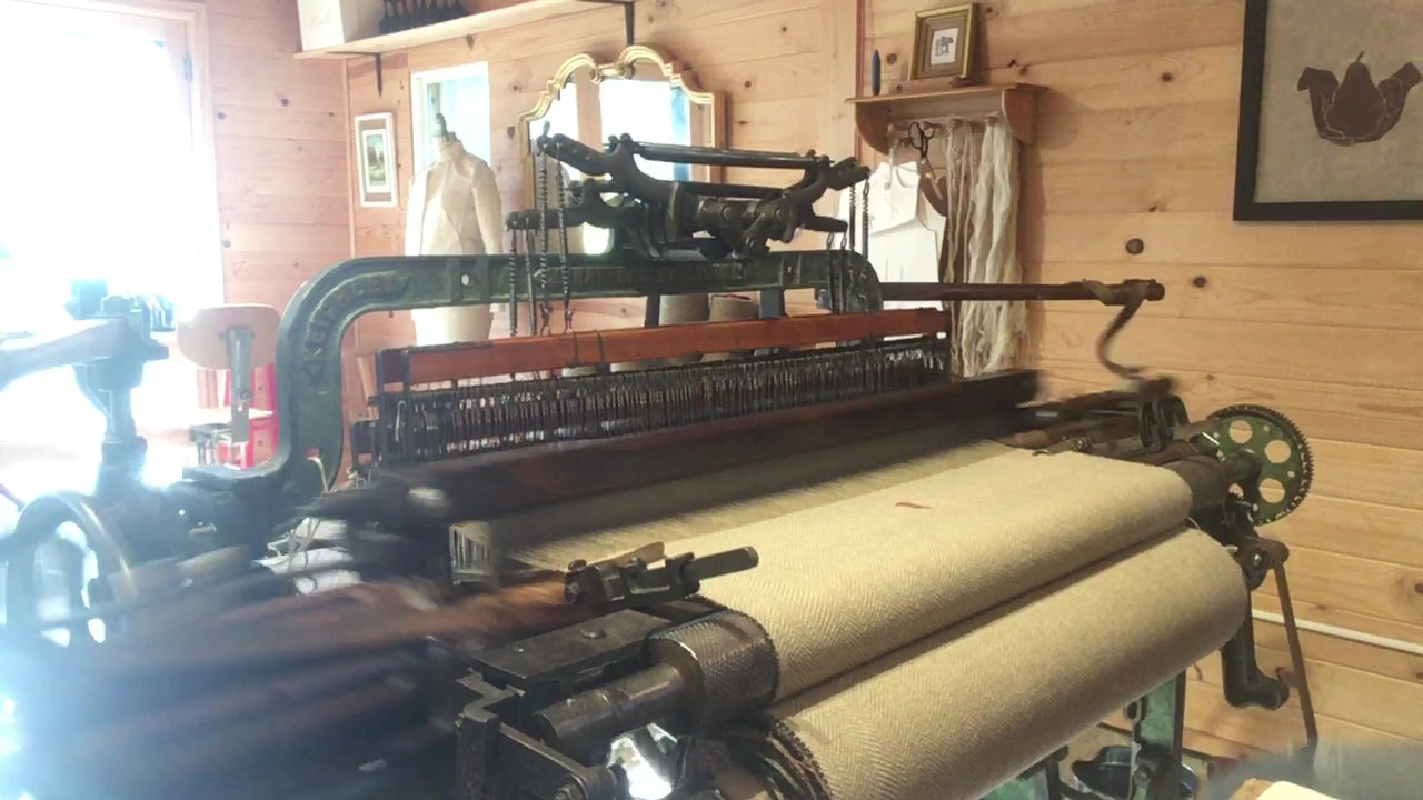 Video of yoru shawl being woven! You can see my knees bobbing on the right!