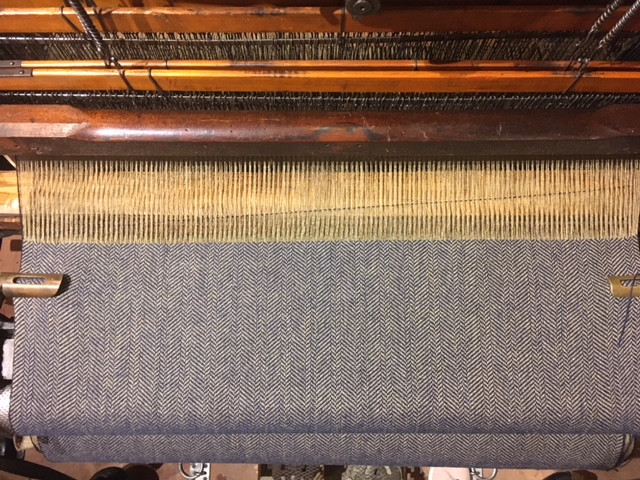 The full width being woven on the Hattersley loom.