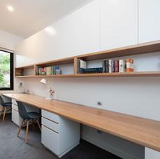 Desk and Overhead Cupboards