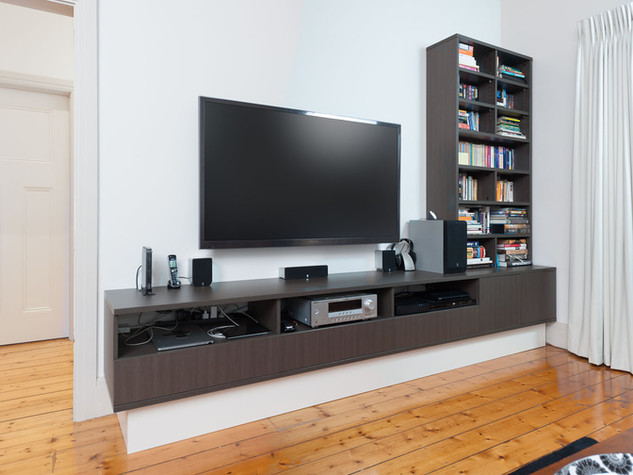 Long Entertainment Unit with Bookcase