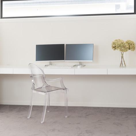 Floating White Desk in Study Nook