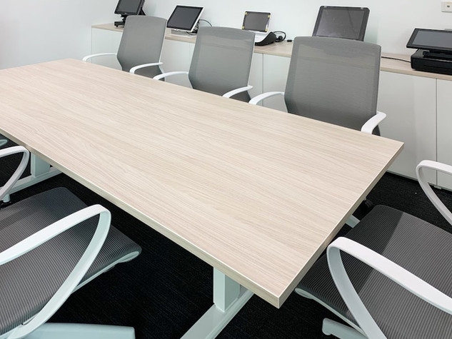 Boardroom Height Adjustable Table & Marics Chairs