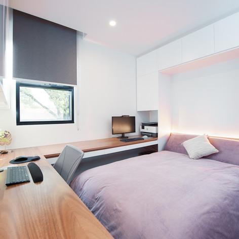 Custom desk and foldaway bed