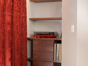 Walnut Record Player Storage