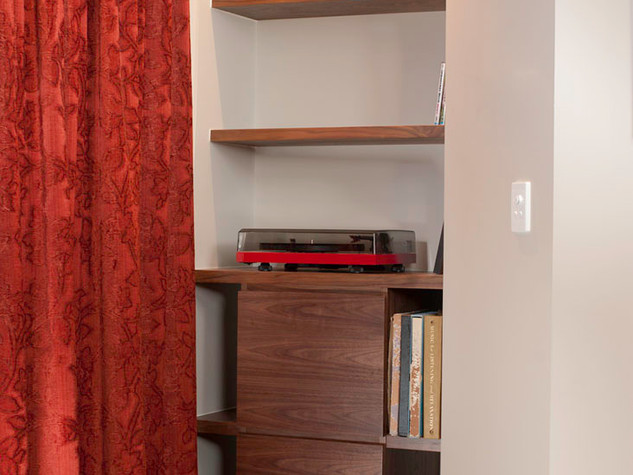 Walnut Record Player Storage