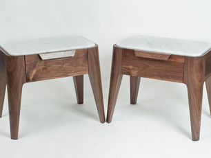 Marble and Walnut Bedside Tables
