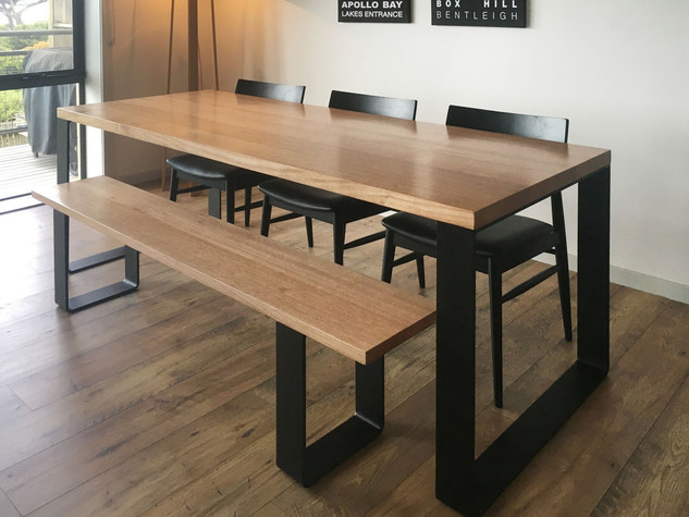 Ash dining table and bench with black steel legs