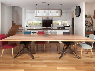 Recycled timber dining table with oxadised waxed steel legs