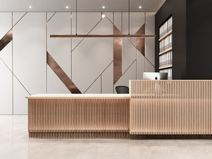Timber Slats Reception Desk