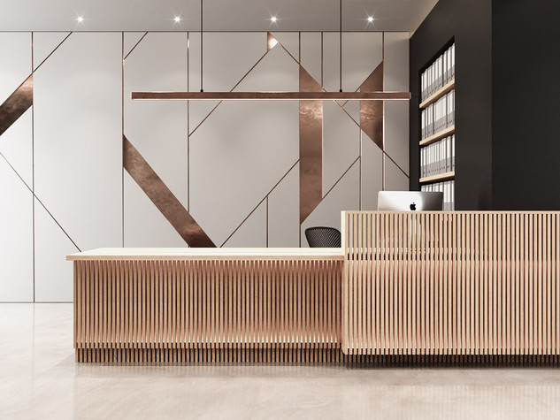 Timber Slats Reception Desk