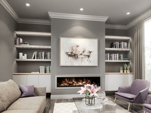 Floating shelves either side of fireplace
