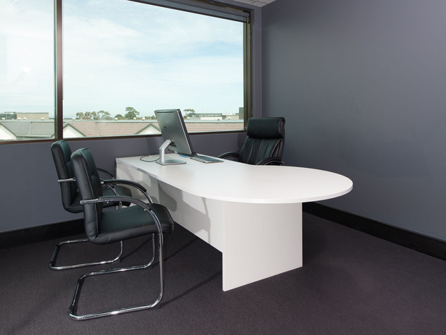 White Office Desk with Meeting Bulb End