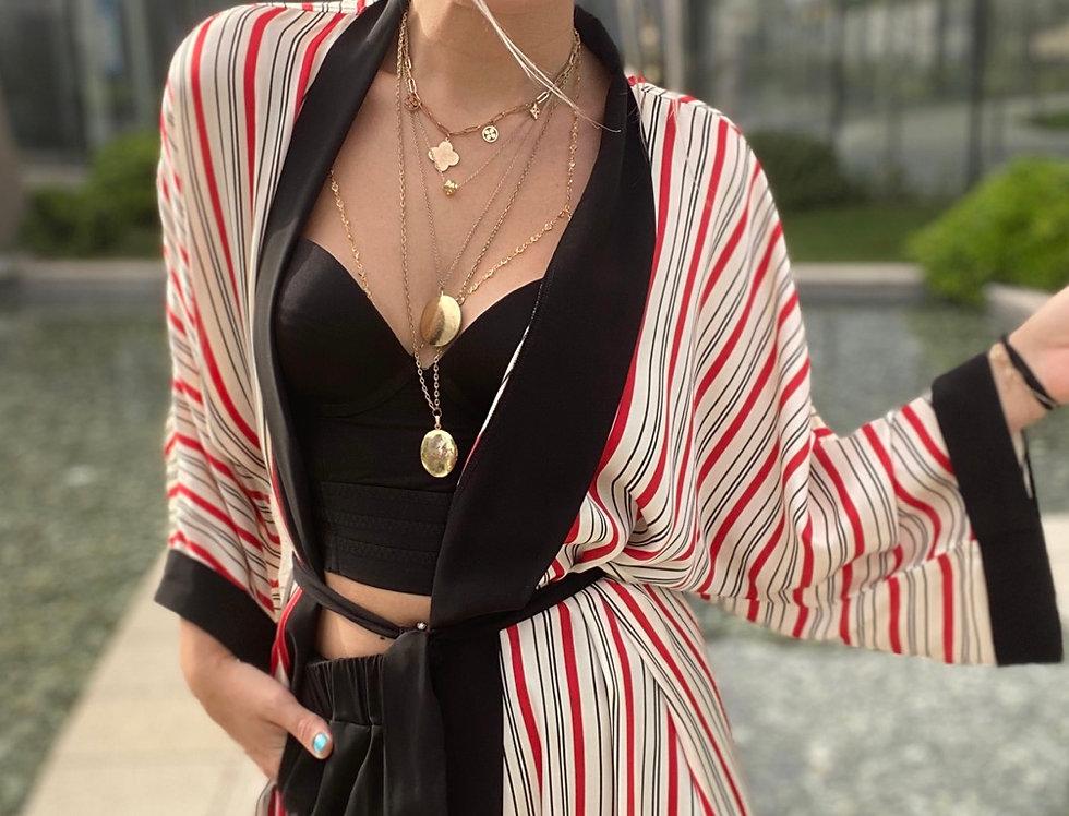 İpek Şifon Çizgili Kimono