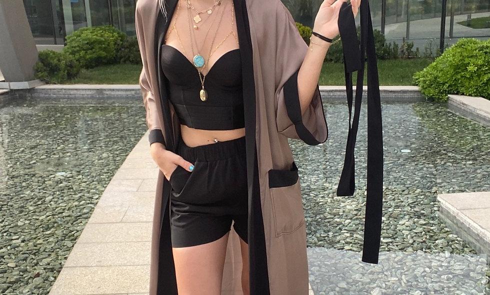 İpek Şifon Şort Kimono Takım