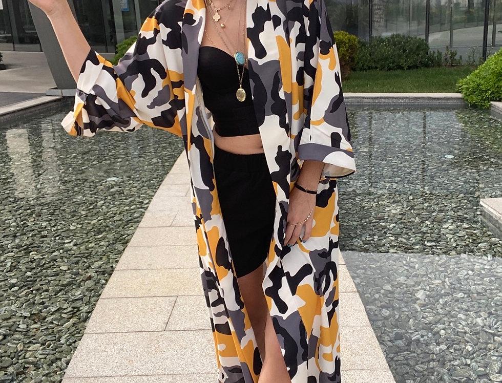 Kamuflaj Desen Kimono Şort Takım