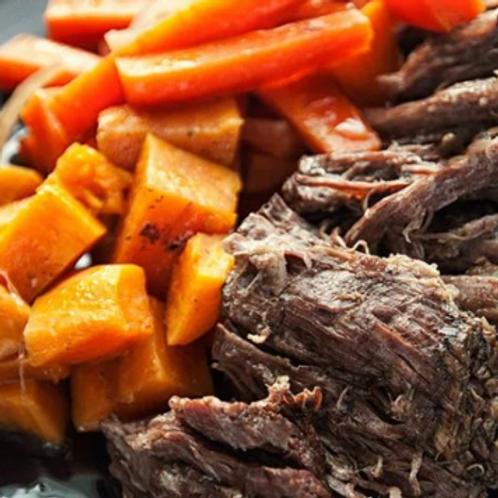 Organic Beef , Vegetables & Sweet Potato Roast