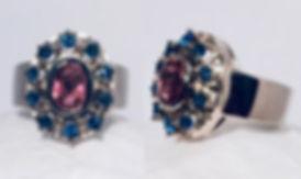 Ring mit Turmalin und Saphiren