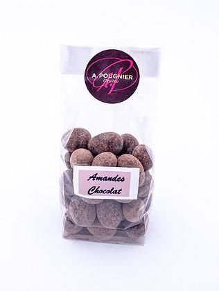 Amandes enrobées de chocolat poids net 100g