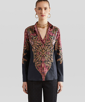 Cotton Shirt With Paisley Decorations - Etro