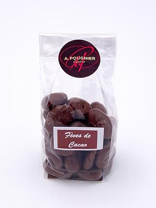 Fèves de cacao enrobées de chocolat poids net 100g