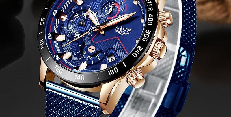 LIGE Anologue Watch Quartz Clock Mens Waterproof Sport Chronograph