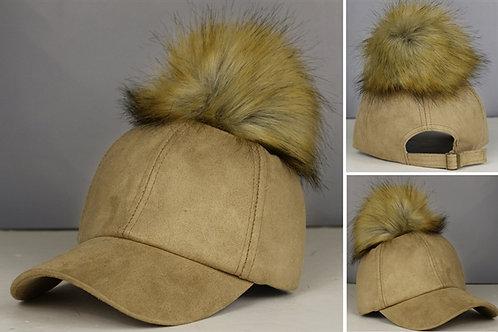 Suede Tan Pom Pom hat