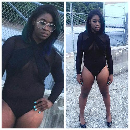 Sheer Black Kris Kross Bodysuit