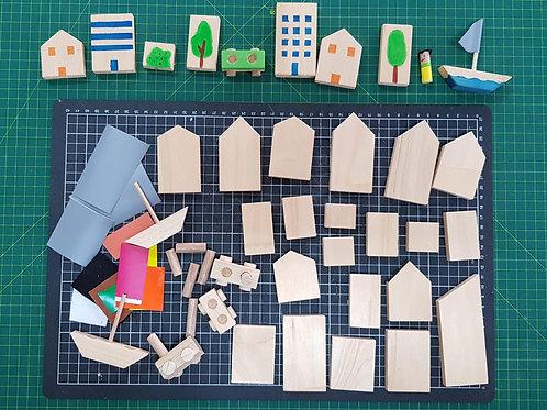 Mini Wooden Town Maker Pack