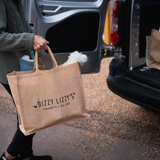 Environmentally friendly cleaning bags at Bizzy Lizzy's