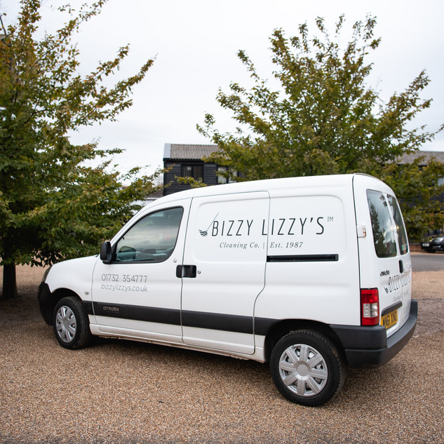 Bizzy Lizzy's Cleaning van at our office in Tonbridge