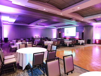2 sections of Grand Hall with a dance floor and AV