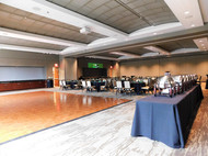2 sections of Grand hall with dance floor and custom GOBO