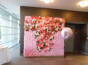 Terrace lobby with custom photo backdrop